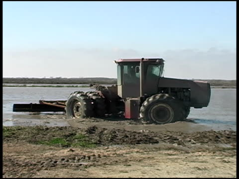 rice farming tractor drag scraping submerged field - scraping stock videos and b-roll footage
