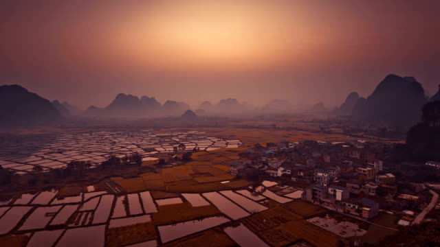 rice fields at sunset - guilin stock videos & royalty-free footage