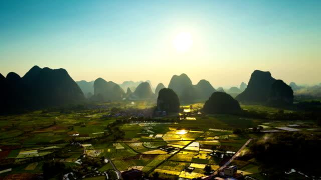Reisfelder bei Sonnenuntergang