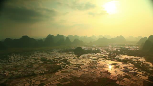 Rice fields at sunset,yangshuo