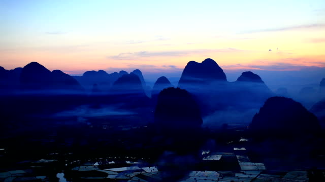 Rice fields at sunset,yangshuo,guilin,china