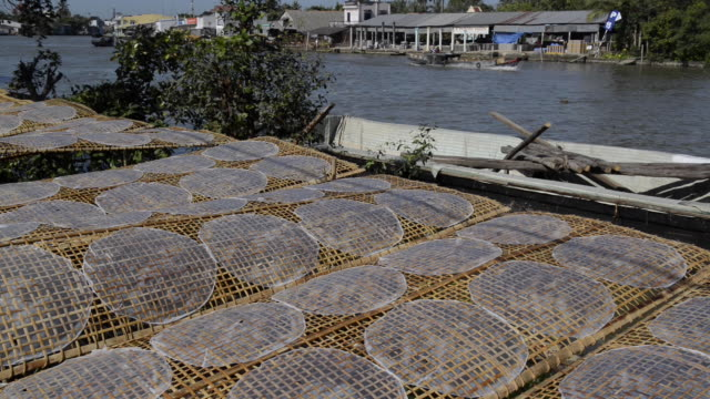 rice paper factory - mekong delta stock videos & royalty-free footage