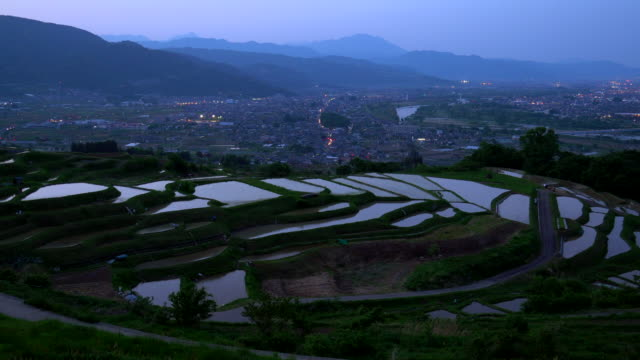 rice terraces (tanada) at dusk,obasute,nagano - rice terrace stock videos and b-roll footage