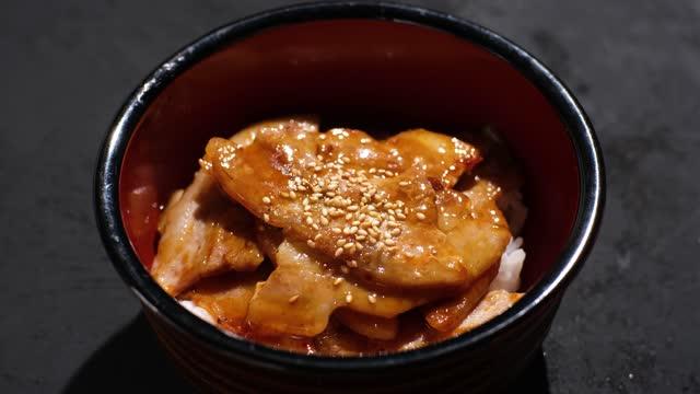 rice using japanese pork ribs - ブタ点の映像素材/bロール