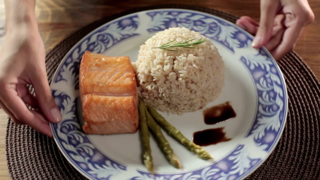 Rice with Grilled Salmon