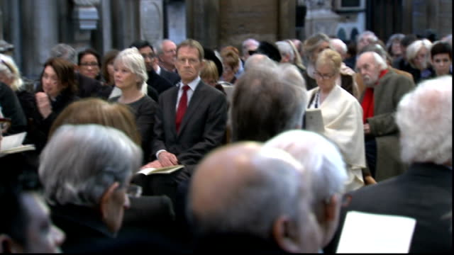 richard attenborough memorial service sir ben kingsley and geraldine james leave lecturn as song sung sot - ben kingsley stock videos & royalty-free footage