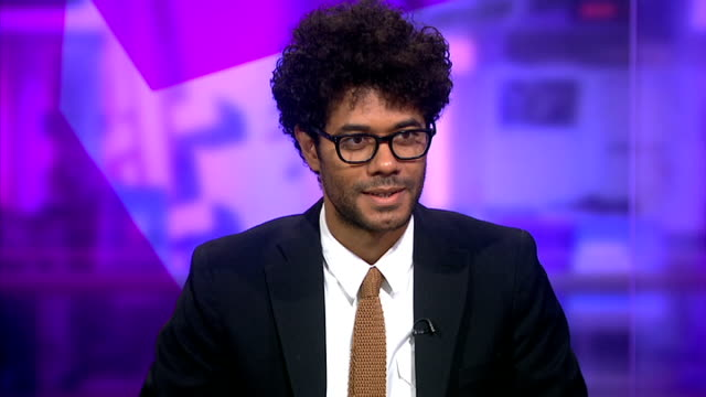 london gir int richard ayoade live studio interview sot on his book not about him any more than the moose story by woody allen is about his grappling... - krishnan guru murthy stock videos & royalty-free footage