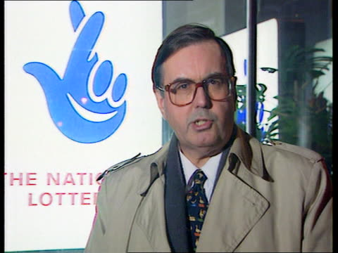 london national lottery hq i/c ronnie fearn mp intvwd think that peter davis should resign quickly / damaging that this is not his first mistake - mp stock-videos und b-roll-filmmaterial