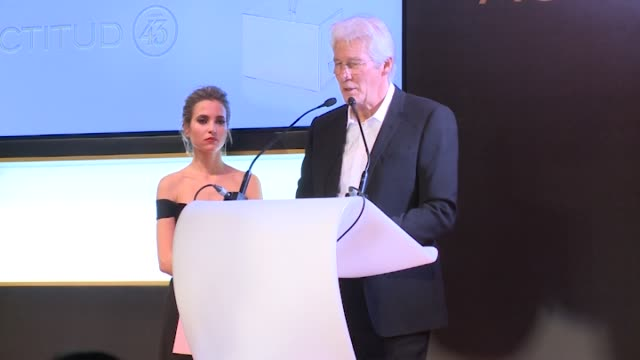 Richard Gere and Alejandra Silva attend the 'Harper's Bazaar' Actitud 43 awards at Casino de Madrid on November 30 2017 in Madrid Spain
