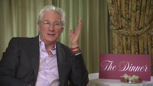 richard gere on steve coogan doing an impression of him, hitting steve coogan in the face on set at berlin film festival: 'the dinner' - interviews... - steve coogan stock videos & royalty-free footage