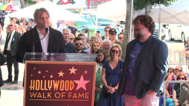 stockvideo's en b-roll-footage met interview richard linklater on all jack has accomplished at the jack black honored with a star on the hollywood walk of fame on september 18 2018 in... - richard linklater