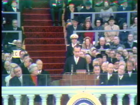 vidéos et rushes de richard m. nixon delivers the inaugural address at his first presidential inauguration - richard nixon