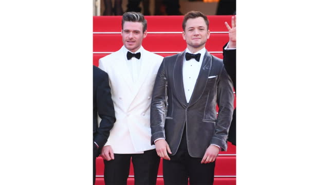 Richard Madden and Taron Egerton attend the screening of Rocketman during the 72nd annual Cannes Film Festival on May 16 2019 in Cannes France
