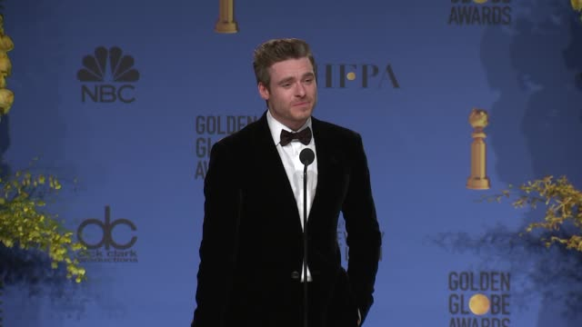 richard madden at the 76th annual golden globe awards - press room at the beverly hilton hotel on january 06, 2019 in beverly hills, california. - the beverly hilton hotel stock videos & royalty-free footage