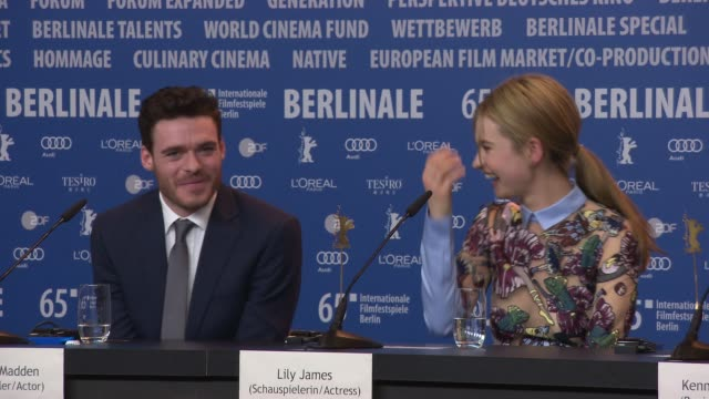 richard madden on being part of a large female cast, on the more modern, less sexiest view on the characters at 'cinderella' press conference - 65th... - シンデレラ点の映像素材/bロール