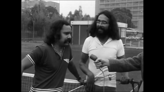richard marin 'cheech' and tommy chong 'chong' playing tennis / interviewer asks why they are here cheech said they are here to take the davis cup... - davis cup stock videos & royalty-free footage