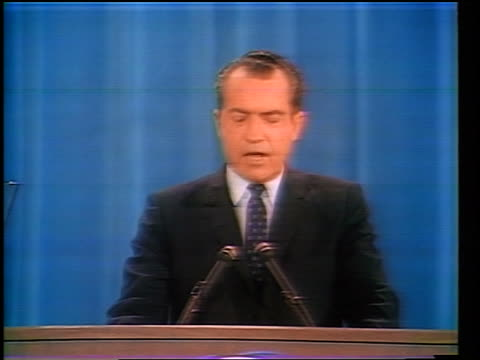 vídeos y material grabado en eventos de stock de richard nixon at podium making speech about end to vietnam war / republican national convention - 1968