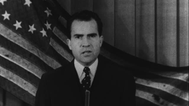 richard nixon delivers his famous old glory speech - richard nixon stock-videos und b-roll-filmmaterial