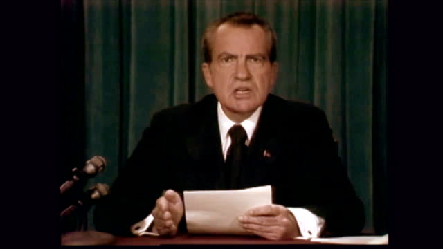 vídeos de stock e filmes b-roll de / richard nixon giving his resignation speech / i shall leave this office with regret at not completing my term but with gratitude for the privilege... - 1974