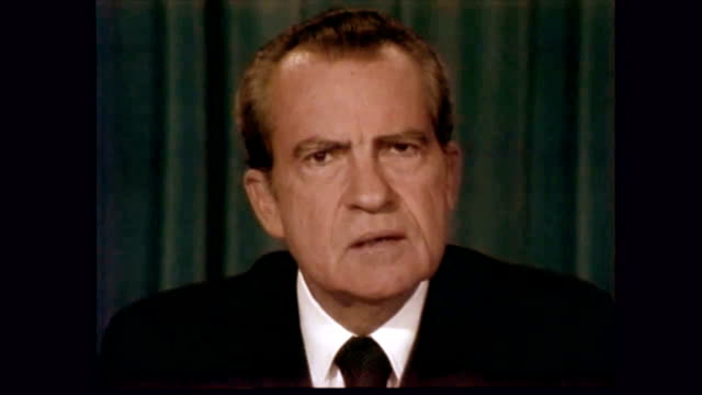 / richard nixon giving his resignation speech including the section i regret deeply any injuries that may have been done in the course of the events... - 辞職点の映像素材/bロール