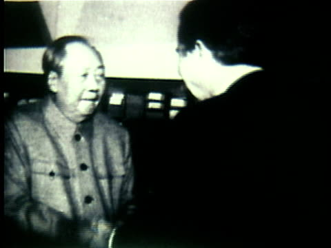 richard nixon meeting and shaking hands with mao tsetung / china - 1972 stock videos and b-roll footage