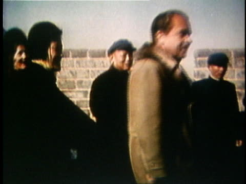 richard nixon, pat nixon and offcials walking along great wall of china on official state visit / china - 1972 stock videos & royalty-free footage
