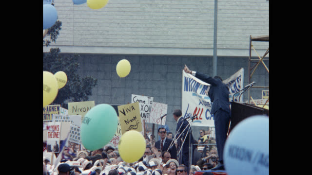richard nixon waving to crowd in political rally - mature women stock videos & royalty-free footage