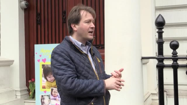 Richard Ratcliffe the husband of jailed charity worker Nazanin ZaghariRatcliffe hands in a giant Mother's Day card to the Iranian Embassy in London...