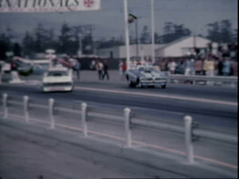 richard tharp drag racing blue max funny car, smoke pouring from rear tires at pomona raceway, 1972 winternationals / chevy nova super stock drag... - motorsport stock videos & royalty-free footage