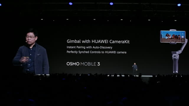 richard yu speaking during presentation of huawei mate 30/30 pro at premiere event, munich, bayern, germany, on thursday, september 19, 2019. - 演説者点の映像素材/bロール