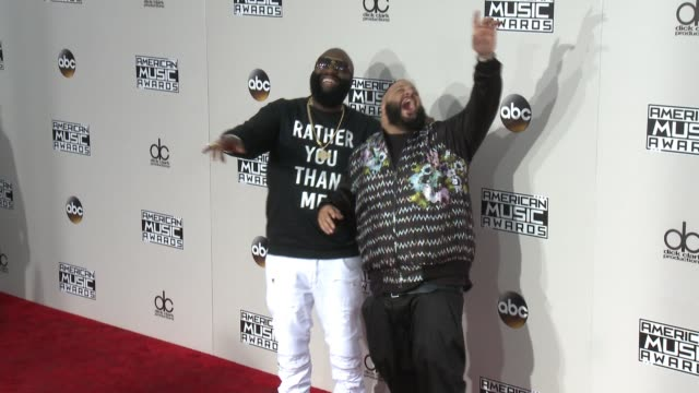 rick ross and dj khaled at 2016 american music awards at microsoft theater on november 20 2016 in los angeles california - american music awards stock videos and b-roll footage