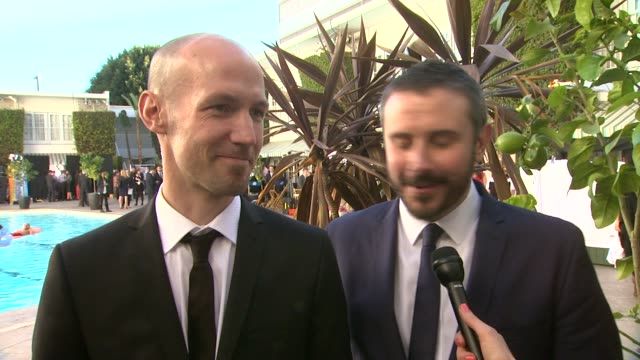 interview rick rowley and jeremy scahill on being honored and their experience meeting other nominees at the 86th academy awards nominee luncheon... - the beverly hilton hotel stock videos & royalty-free footage