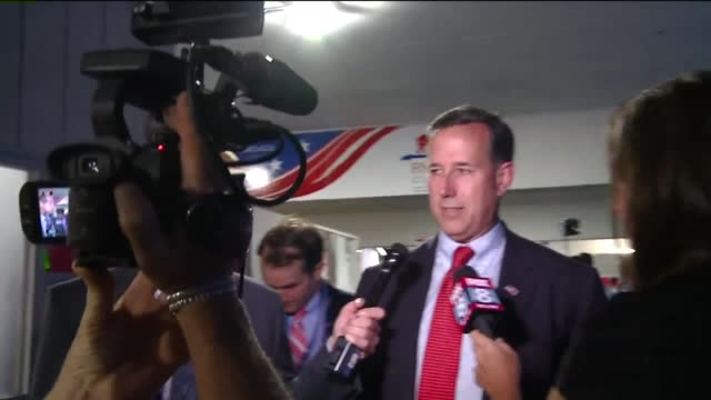 wjw rick santorum at 2016 rnc says 'trump won i lost i don't give advice' in cleveland's quicken loans arena on july 20 2016 - republikanischer parteitag stock-videos und b-roll-filmmaterial