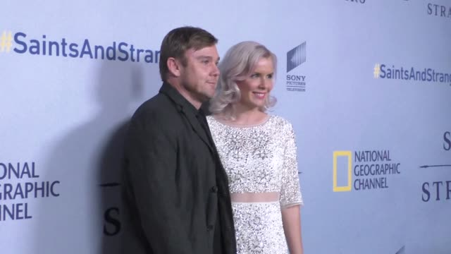 rick schroder & andrea bernard at the premiere of national geographic channel's saints and strangers at saban theatre in beverly hills in celebrity... - リック シュローダー点の映像素材/bロール