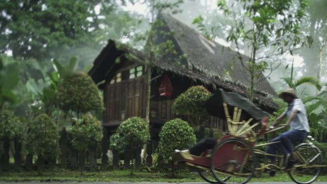 rickshaw passing an asian village house - ペディキャブ点の映像素材/bロール