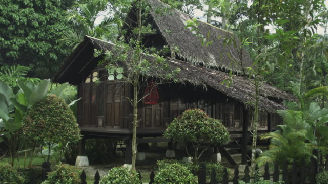 vídeos de stock e filmes b-roll de rickshaw passing an asian village house - cabana de madeira