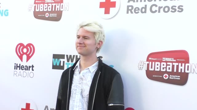 ricky dillon at the what's trending's fourth annual tubeathon benefitting american red cross at iheartradio theatre in burbank - celebrity sightings... - fourth occurrence stock videos & royalty-free footage