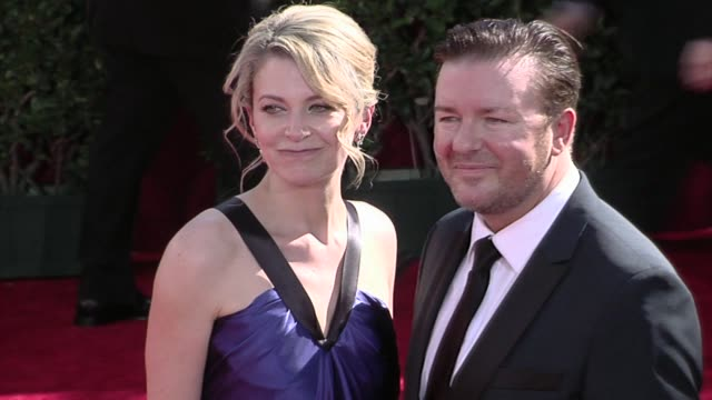 ricky gervais and guest at the 61st annual primetime emmy awards - arrivals part 3 at los angeles ca. - ricky gervais stock videos & royalty-free footage
