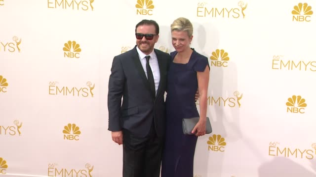 ricky gervais and jane fallon - 66th primetime emmy awards - arrivals at nokia theatre l.a. live on august 25, 2014 in los angeles, california. - ricky gervais stock videos & royalty-free footage