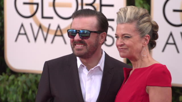 Ricky Gervais and Jane Fallon at 73rd Annual Golden Globe Awards Arrivals at The Beverly Hilton Hotel on January 10 2016 in Beverly Hills California...