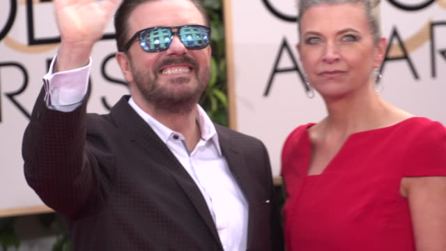 ricky gervais and jane fallon at 73rd annual golden globe awards - arrivals at the beverly hilton hotel on january 10, 2016 in beverly hills,... - ricky gervais stock videos & royalty-free footage