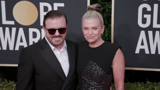 ricky gervais and jane fallon at the 77th annual golden globe awards at the beverly hilton hotel on january 05, 2020 in beverly hills, california. - ricky gervais stock videos & royalty-free footage
