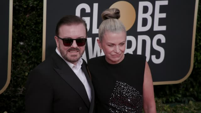 vidéos et rushes de ricky gervais and jane fallon at the 77th annual golden globe awards at the beverly hilton hotel on january 05, 2020 in beverly hills, california. - the beverly hilton hotel