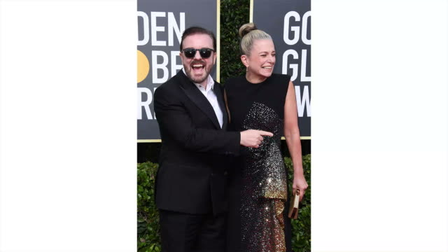 ricky gervais and jane fallon attend the 77th annual golden globe awards at the beverly hilton hotel on january 05, 2020 in beverly hills, california. - ricky gervais stock videos & royalty-free footage
