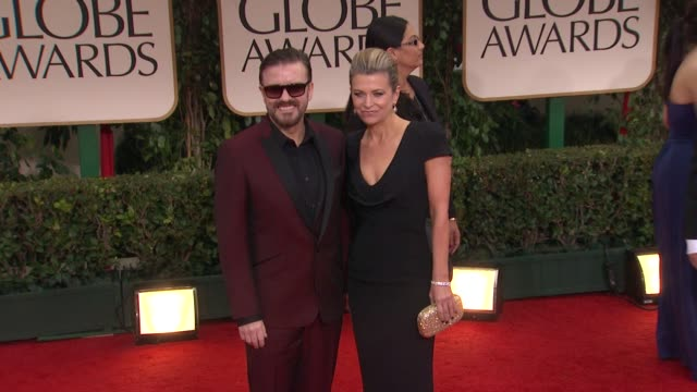 ricky gervais at 69th annual golden globe awards - arrivals on january 15, 2012 in beverly hills, california - ricky gervais stock videos & royalty-free footage