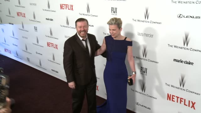 ricky gervais at the 2015 weinstein company and netflix golden globe after party at robinsons may lot on january 11, 2015 in beverly hills,... - ricky gervais stock videos & royalty-free footage