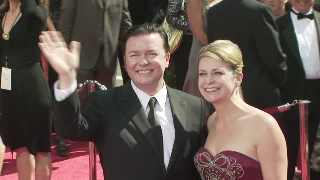 ricky gervais at the 60th primetime emmy awards at los angeles ca. - ricky gervais stock videos & royalty-free footage