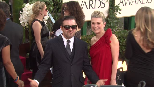 ricky gervais at the 68th annual golden globe awards - arrivals at beverly hills ca. - ricky gervais stock videos & royalty-free footage