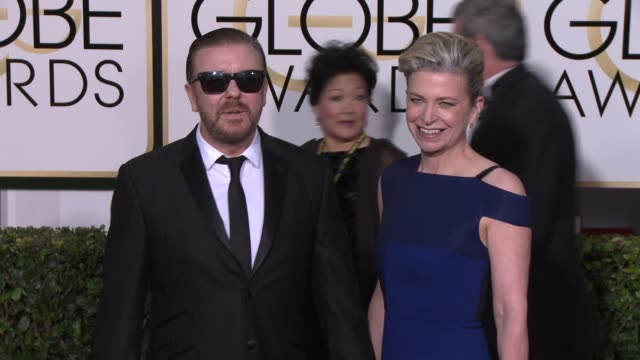 ricky gervais at the 72nd annual golden globe awards - arrivals at the beverly hilton hotel on january 11, 2015 in beverly hills, california. - ricky gervais stock videos & royalty-free footage