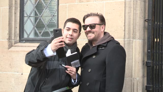 ricky gervais - celebrity video sightings at itv studios on january 17, 2013 in london, england - ricky gervais stock videos & royalty-free footage